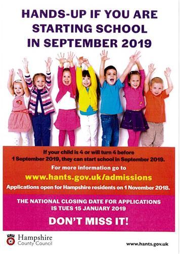 School Admissions 2019 - Tichborne Parish Council, Tichborne, Alresford